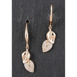 Falling Leaves Rose Gold Plated Dangly Earrings