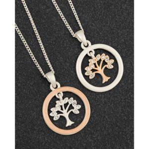 Matt Silver & Rose Gold Plated Circle of Life Necklace