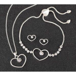 Diamond Swirl Heart SP Necklace, Bracelet & Earrings Set