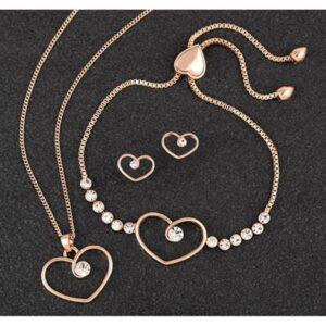 Diamond Swirl Heart RGP Necklace Bracelet & Earrings Set