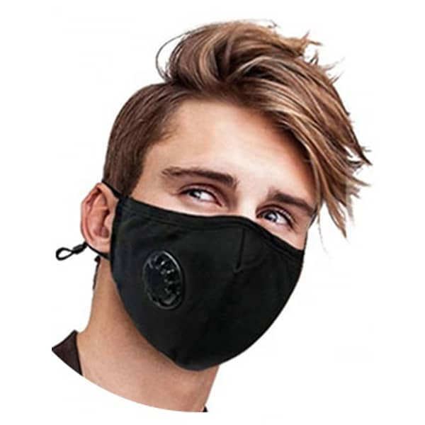 Reusable Large Black Cotton Face Mask with valve PM 2.5 KN 95  (includes 2 filters)