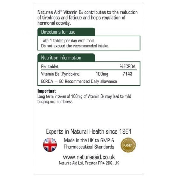 Natures Aid Vitamin B6 100mg – (100) Tablets